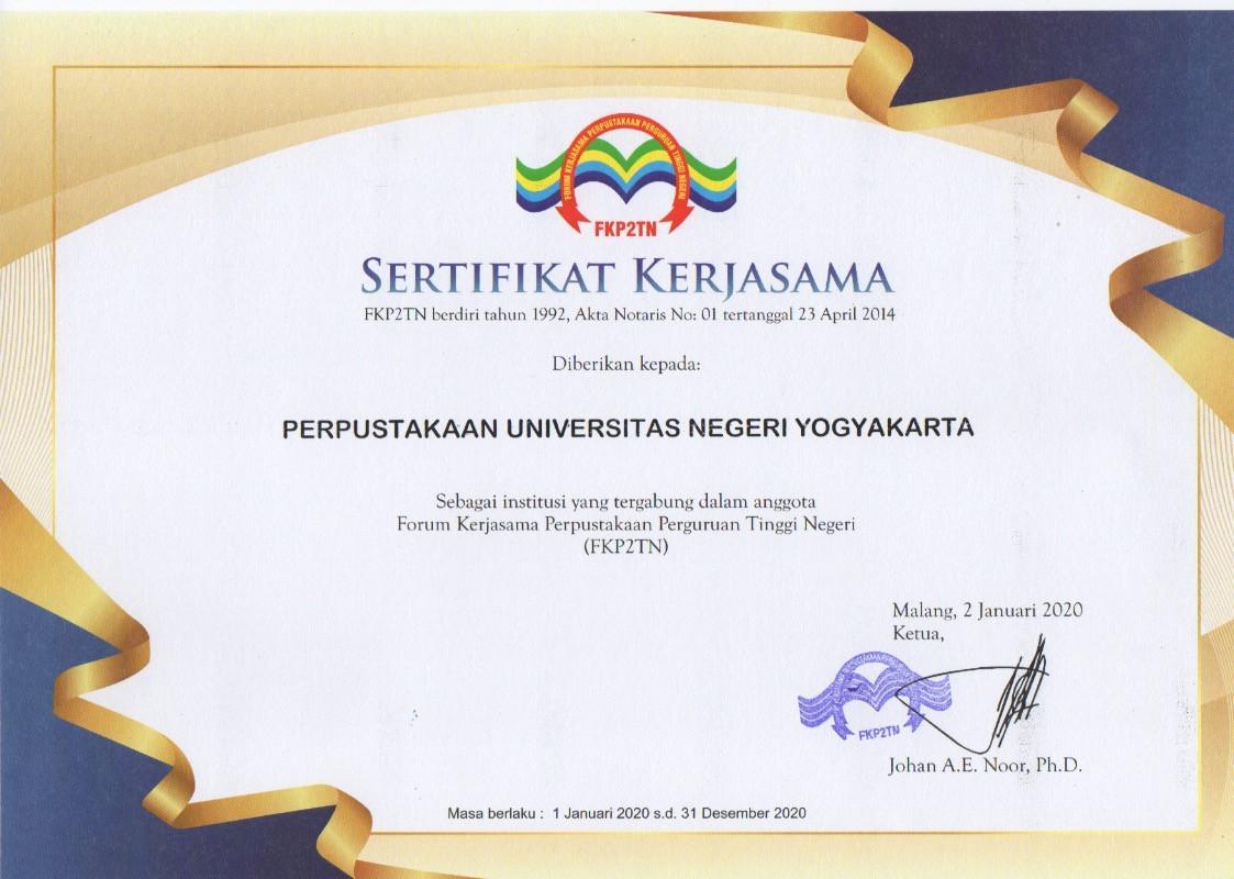Sertifikat Kerjasama FKP2TN 2020