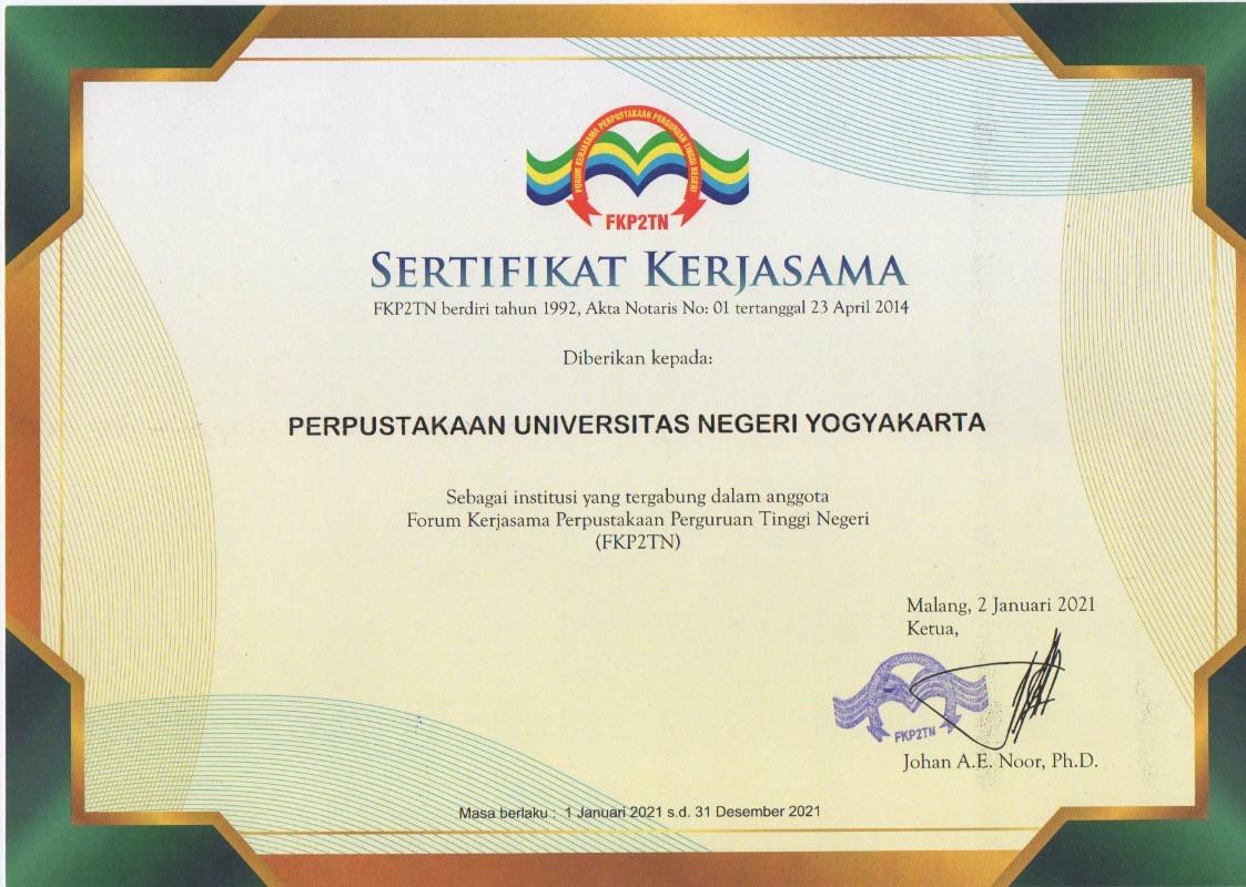 Sertifikat Kerjasama FKP2TN 2021